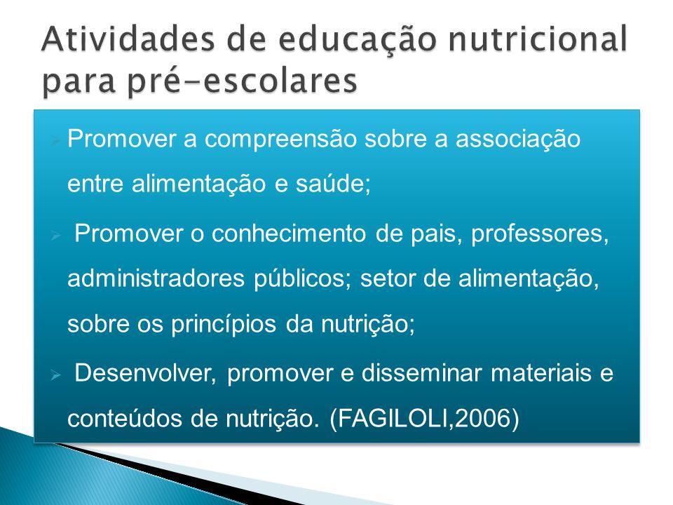 Promover a compreensão sobre a associação entre alimentação e saúde; Promover o conhecimento de pais, professores, administradores públicos; setor de