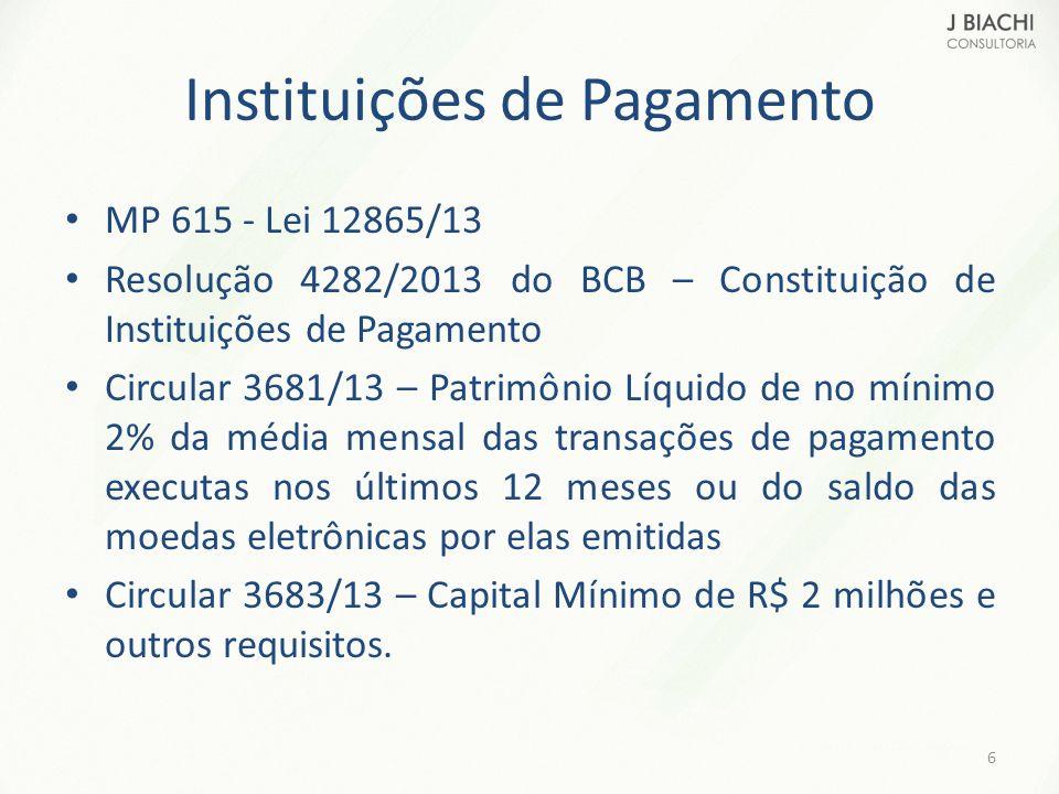 Instituições de Pagamento MP 615 - Lei 12865/13 Resolução 4282/2013 do BCB – Constituição de Instituições de Pagamento Circular 3681/13 – Patrimônio L