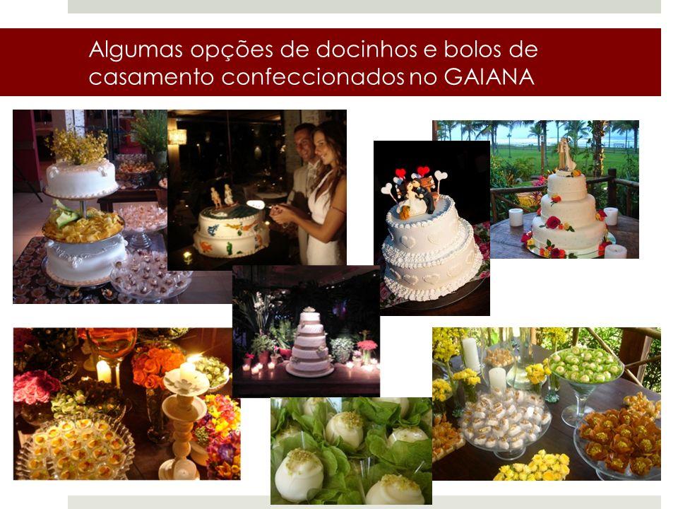Algumas opções de docinhos e bolos de casamento confeccionados no GAIANA