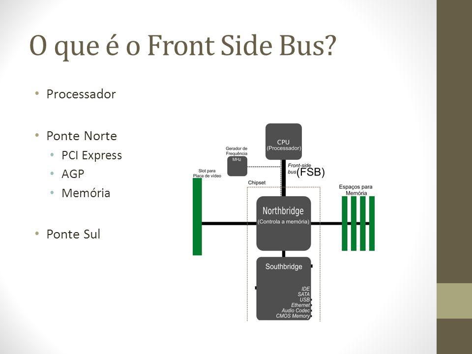 O que é o Front Side Bus? Processador Ponte Norte PCI Express AGP Memória Ponte Sul