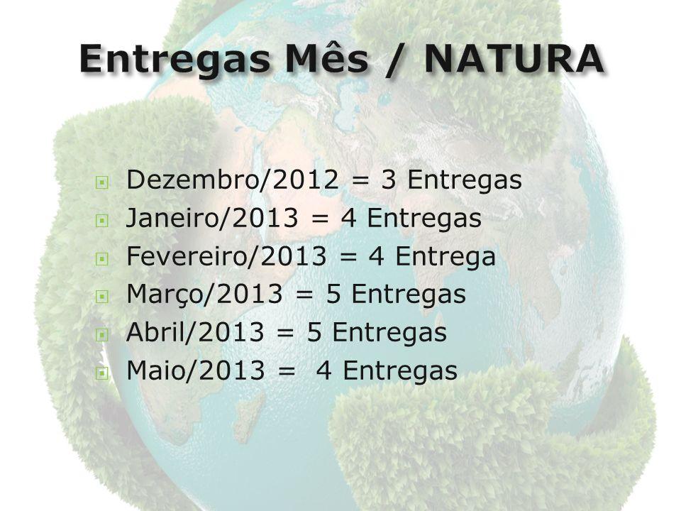 Dezembro/2012 = 3 Entregas Janeiro/2013 = 4 Entregas Fevereiro/2013 = 4 Entrega Março/2013 = 5 Entregas Abril/2013 = 5 Entregas Maio/2013 = 4 Entregas