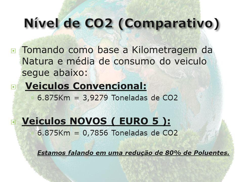 Tomando como base a Kilometragem da Natura e média de consumo do veiculo segue abaixo: Veiculos Convencional: 6.875Km = 3,9279 Toneladas de CO2 Veiculos NOVOS ( EURO 5 ): 6.875Km = 0,7856 Toneladas de CO2 Estamos falando em uma redução de 80% de Poluentes.
