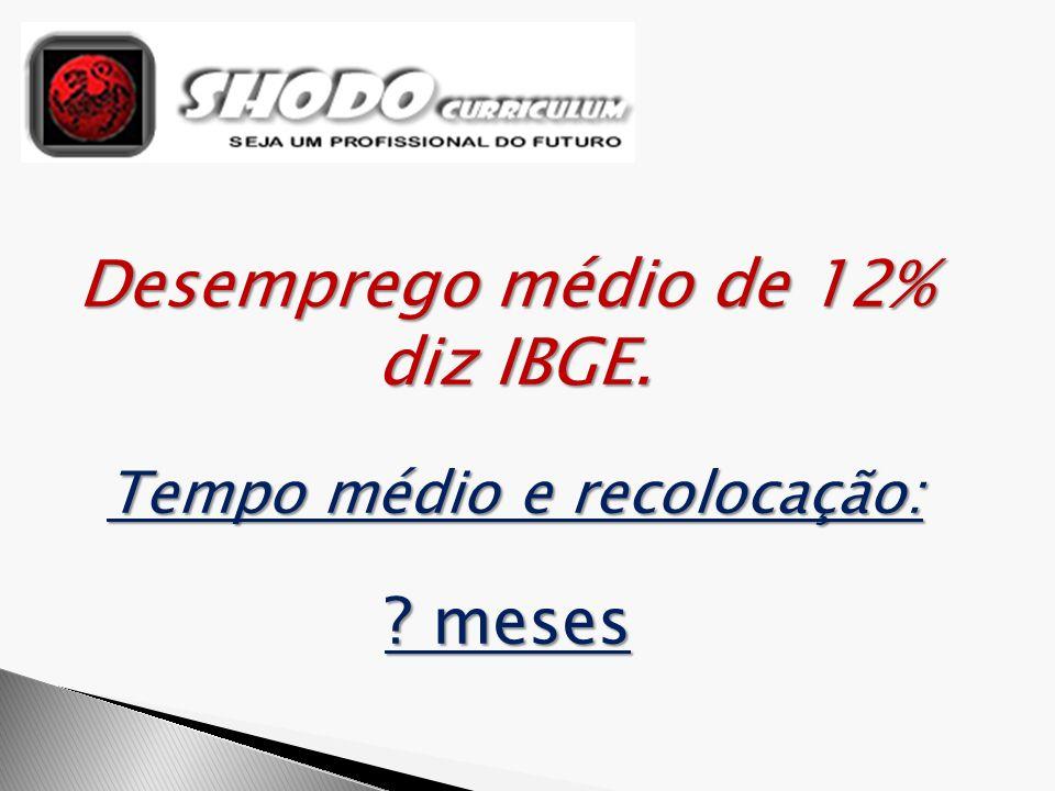 Desemprego médio de 12% diz IBGE. Tempo médio e recolocação: ? meses