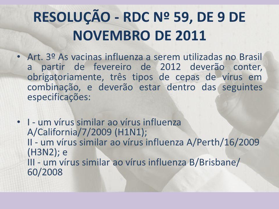 RESOLUÇÃO - RDC Nº 59, DE 9 DE NOVEMBRO DE 2011 Art. 3º As vacinas influenza a serem utilizadas no Brasil a partir de fevereiro de 2012 deverão conter