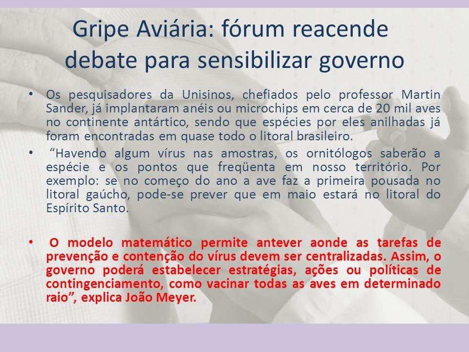 Gripe Aviária: fórum reacende debate para sensibilizar governo Os pesquisadores da Unisinos, chefiados pelo professor Martin Sander, já implantaram an