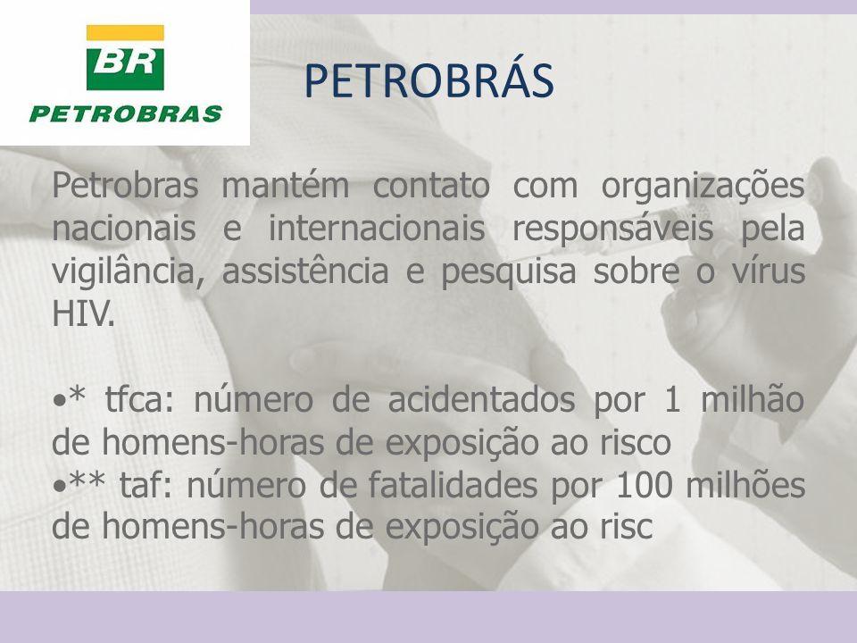 Petrobras mantém contato com organizações nacionais e internacionais responsáveis pela vigilância, assistência e pesquisa sobre o vírus HIV. * tfca: n