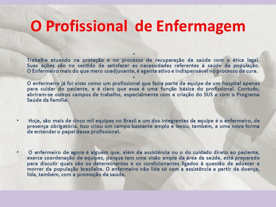 O Profissional de Enfermagem Trabalha atuando na proteção e no processo de recuperação da saúde com a ética legal. Suas ações são no sentido de satisf