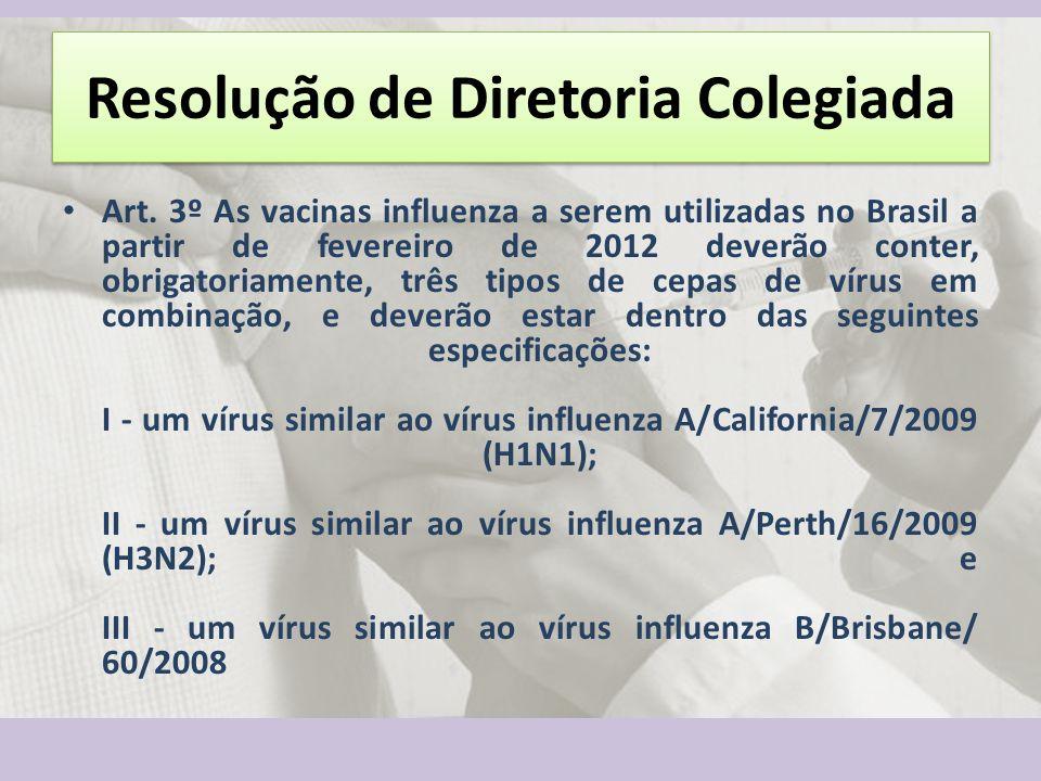 Resolução de Diretoria Colegiada Art. 3º As vacinas influenza a serem utilizadas no Brasil a partir de fevereiro de 2012 deverão conter, obrigatoriame