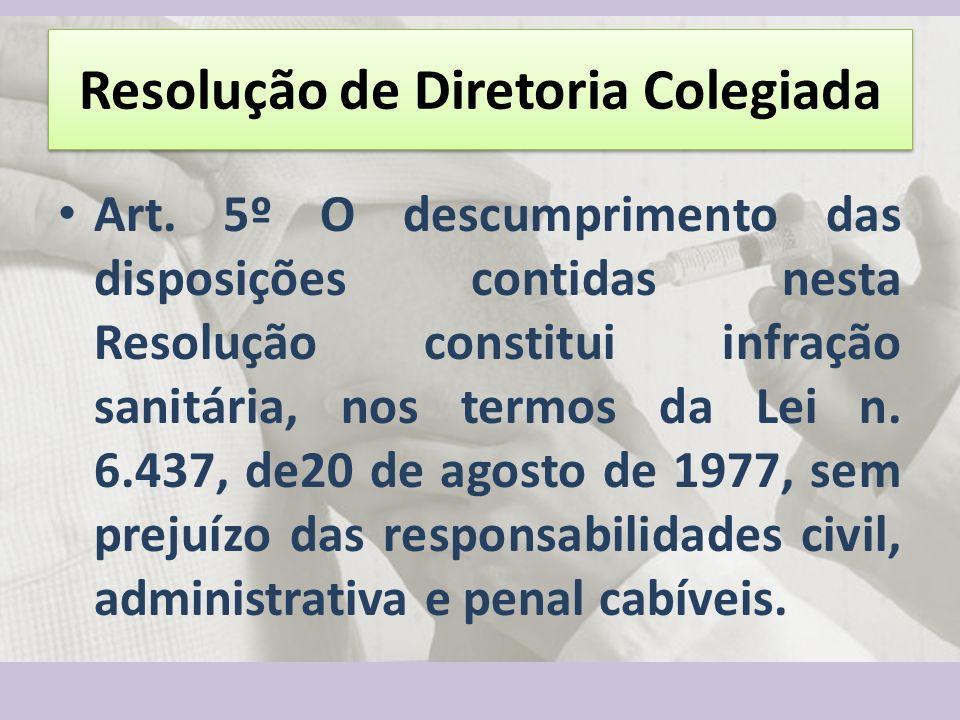 Resolução de Diretoria Colegiada Art. 5º O descumprimento das disposições contidas nesta Resolução constitui infração sanitária, nos termos da Lei n.