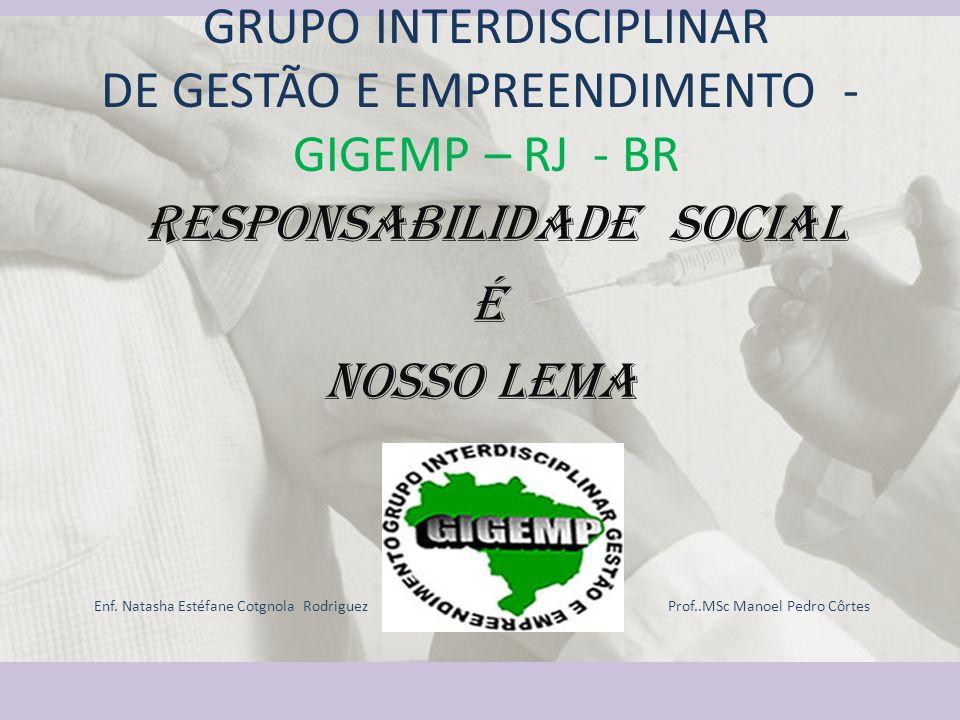 GRUPO INTERDISCIPLINAR DE GESTÃO E EMPREENDIMENTO - GIGEMP – RJ - BR Responsabilidade Social é Nosso Lema Enf. Natasha Estéfane Cotgnola Rodriguez Pro