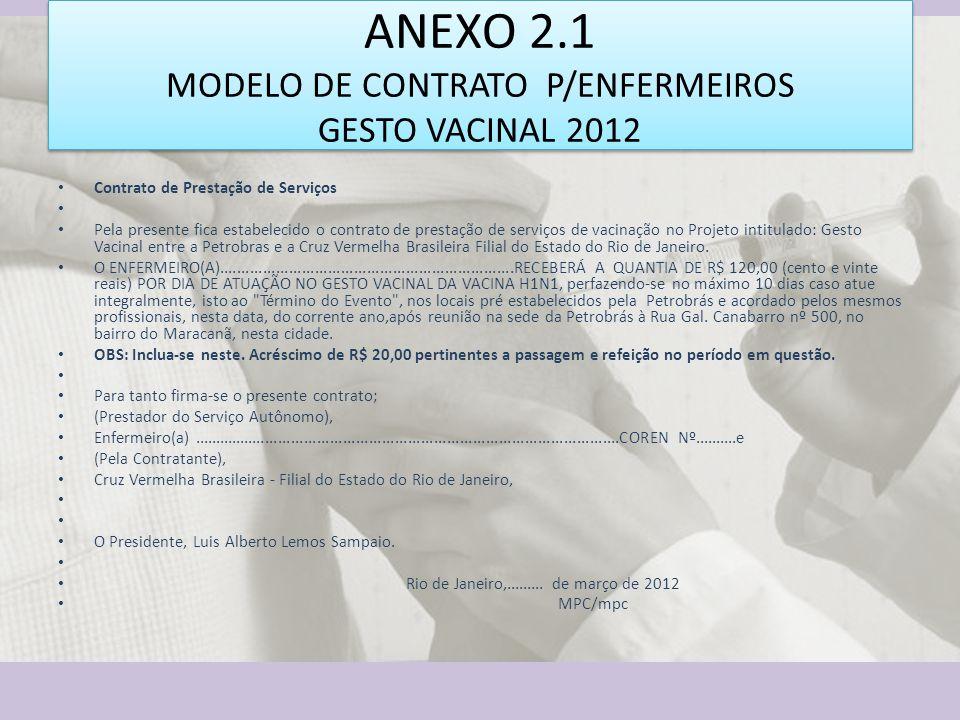 ANEXO 2.1 MODELO DE CONTRATO P/ENFERMEIROS GESTO VACINAL 2012 Contrato de Prestação de Serviços Pela presente fica estabelecido o contrato de prestaçã