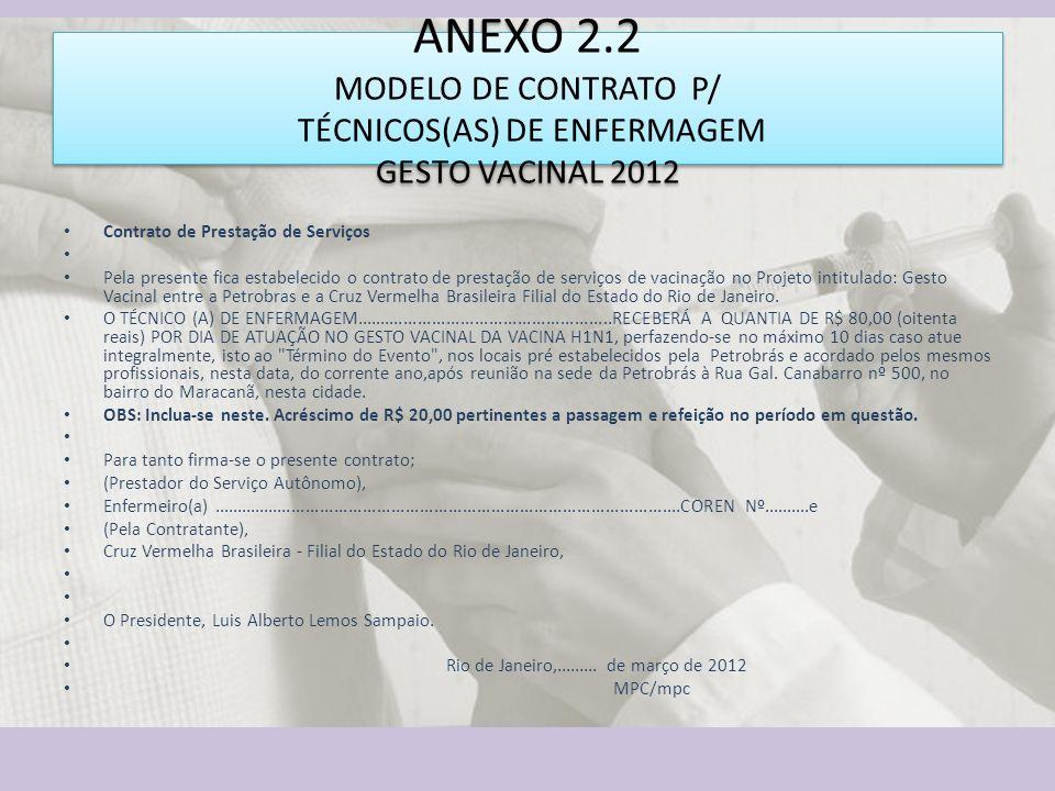ANEXO 2.2 MODELO DE CONTRATO P/ TÉCNICOS(AS) DE ENFERMAGEM GESTO VACINAL 2012 Contrato de Prestação de Serviços Pela presente fica estabelecido o cont