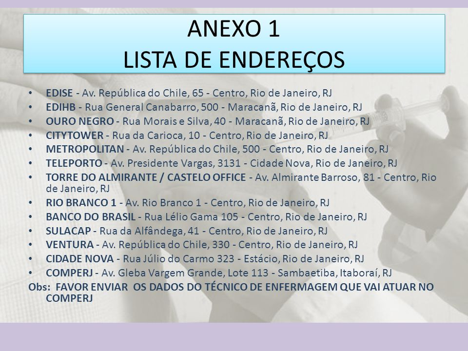 ANEXO 1 LISTA DE ENDEREÇOS EDISE - Av.