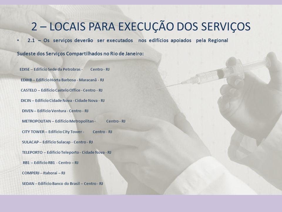 1 – OBJETO Serviços de Enfermeiro e Técnico de Enfermagem para atuar na Campanha de Vacinação Antigripal 2012. 2 – LOCAIS PARA EXECUÇÃO DOS SERVIÇOS 2