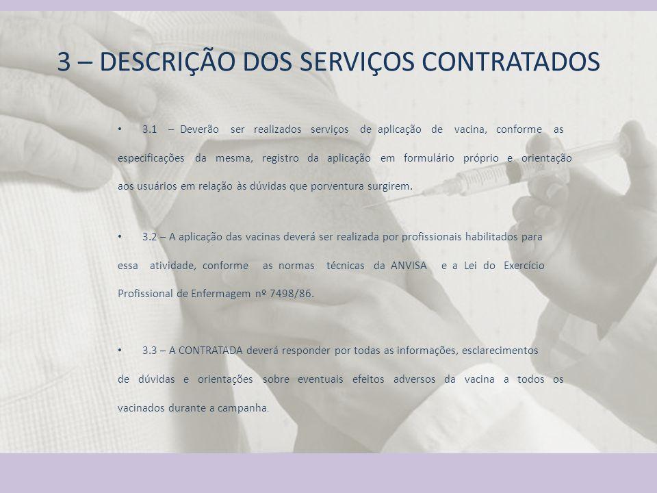 3 – DESCRIÇÃO DOS SERVIÇOS CONTRATADOS 3.1 – Deverão ser realizados serviços de aplicação de vacina, conforme as especificações da mesma, registro da