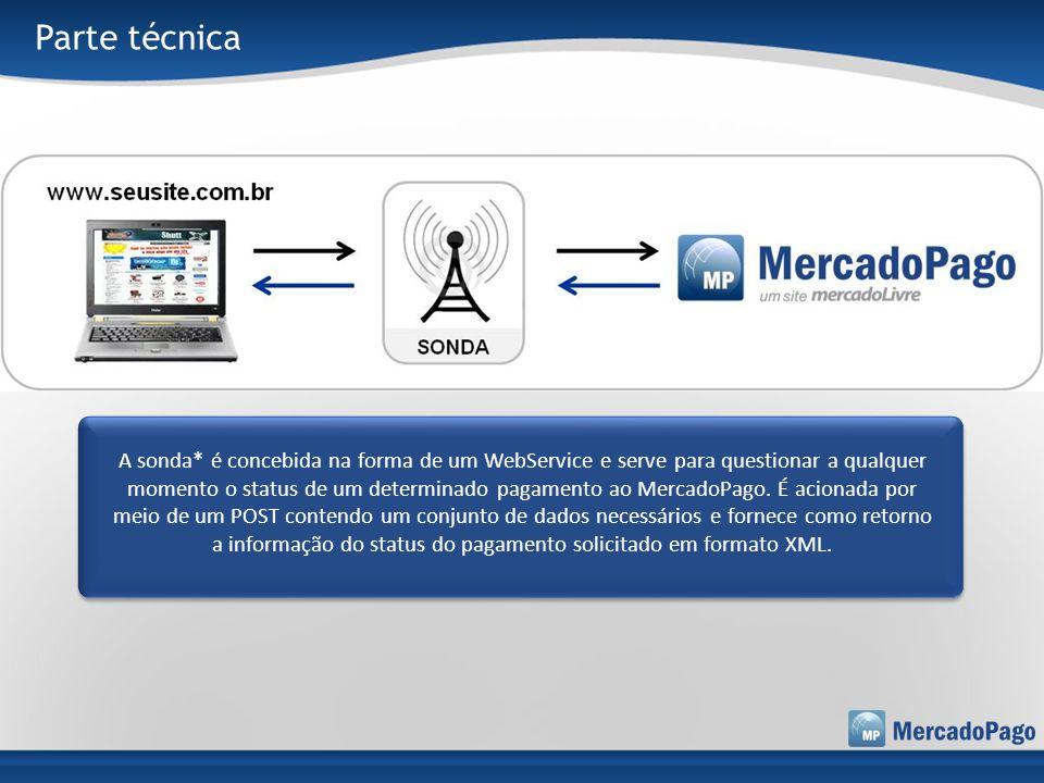 Parte técnica A sonda* é concebida na forma de um WebService e serve para questionar a qualquer momento o status de um determinado pagamento ao Mercad