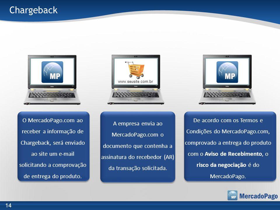 O MercadoPago.com ao receber a informação de Chargeback, será enviado ao site um e-mail solicitando a comprovação de entrega do produto. A empresa env
