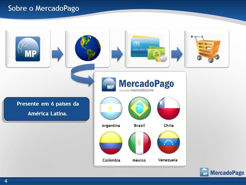 Sobre o MercadoPago Argentina Colômbia Chile Venezuela Brasil México Presente em 6 países da América Latina. 4