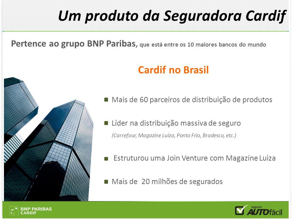 Pertence ao grupo BNP Paribas, que está entre os 10 maiores bancos do mundo Cardif no Brasil Mais de 60 parceiros de distribuição de produtos Líder na
