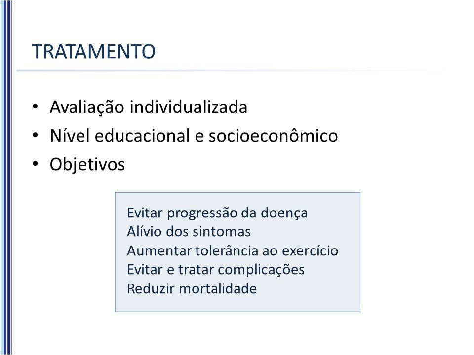 TRATAMENTO Avaliação individualizada Nível educacional e socioeconômico Objetivos Evitar progressão da doença Alívio dos sintomas Aumentar tolerância