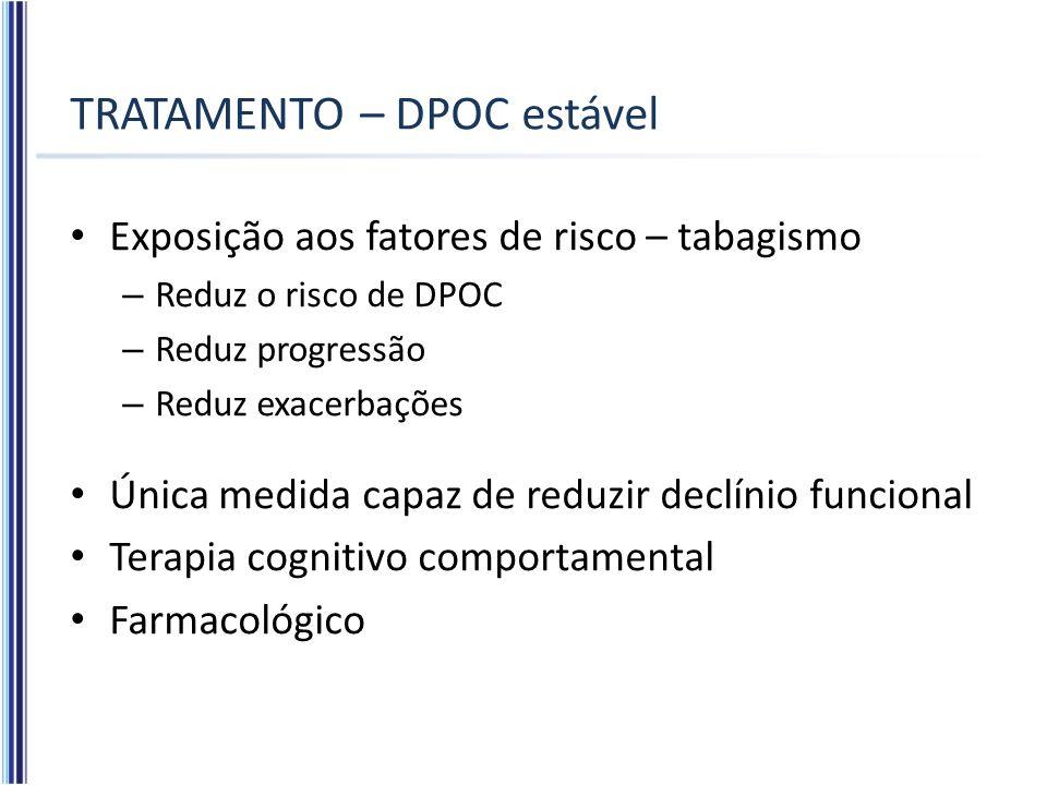 TRATAMENTO – DPOC estável Exposição aos fatores de risco – tabagismo – Reduz o risco de DPOC – Reduz progressão – Reduz exacerbações Única medida capa