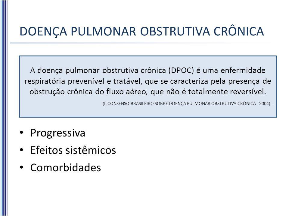 DOENÇA PULMONAR OBSTRUTIVA CRÔNICA Progressiva Efeitos sistêmicos Comorbidades A doença pulmonar obstrutiva crônica (DPOC) é uma enfermidade respirató