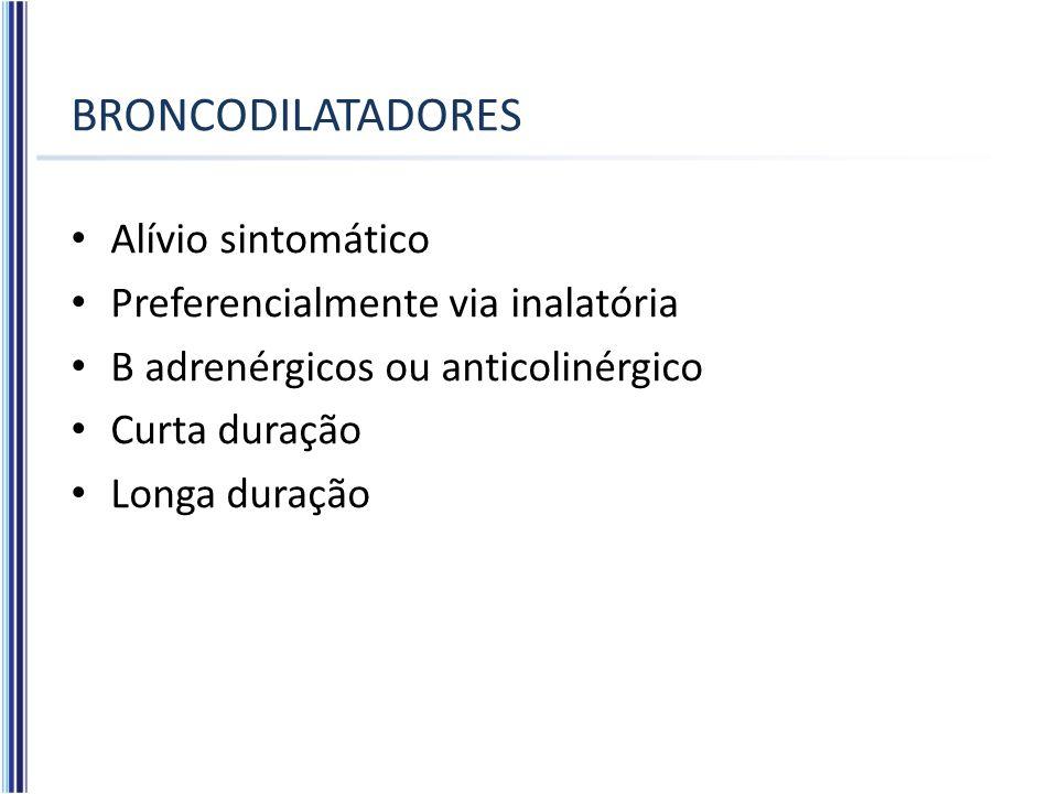 BRONCODILATADORES Alívio sintomático Preferencialmente via inalatória Β adrenérgicos ou anticolinérgico Curta duração Longa duração