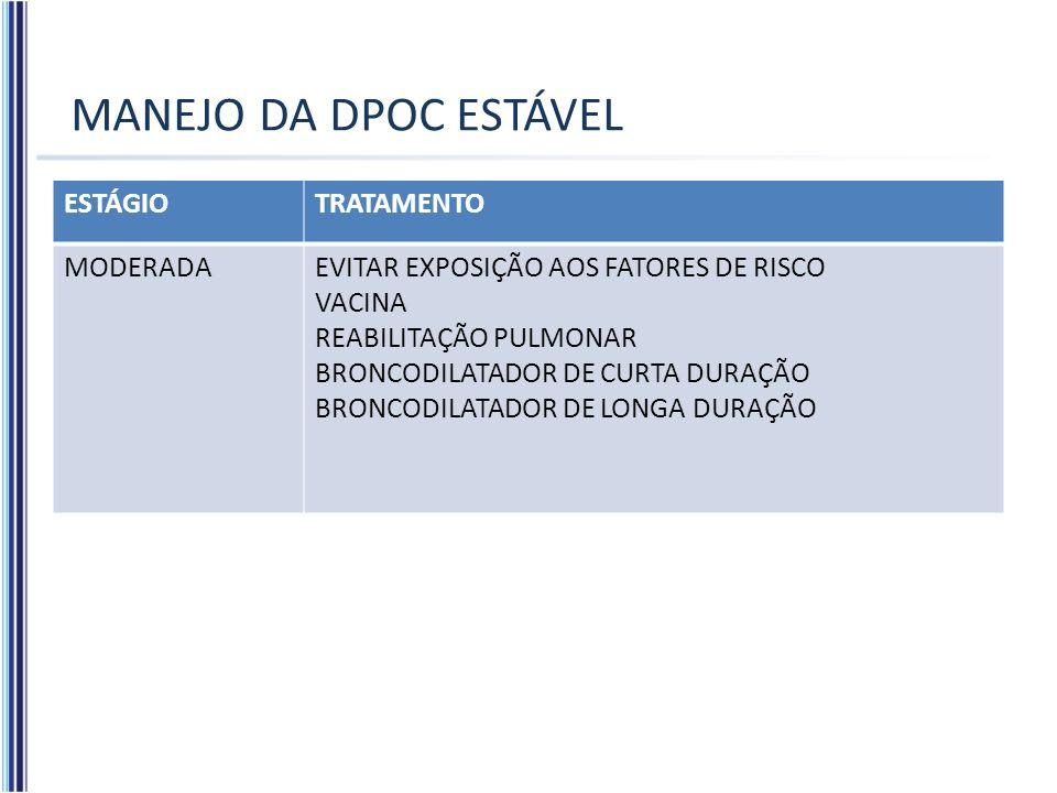 MANEJO DA DPOC ESTÁVEL ESTÁGIOTRATAMENTO MODERADAEVITAR EXPOSIÇÃO AOS FATORES DE RISCO VACINA REABILITAÇÃO PULMONAR BRONCODILATADOR DE CURTA DURAÇÃO B