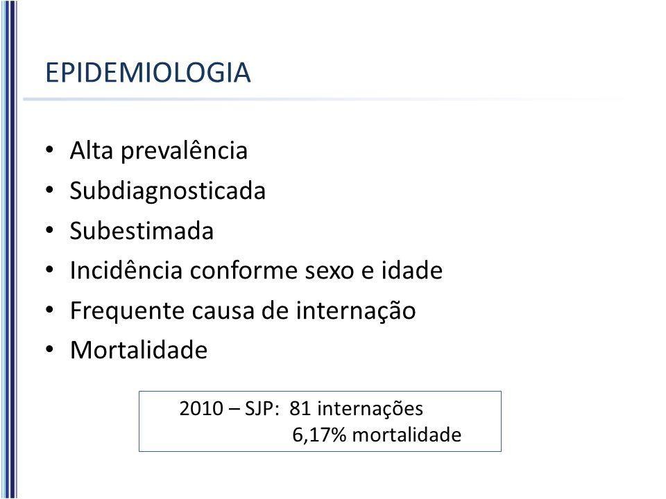 EPIDEMIOLOGIA Alta prevalência Subdiagnosticada Subestimada Incidência conforme sexo e idade Frequente causa de internação Mortalidade 2010 – SJP: 81
