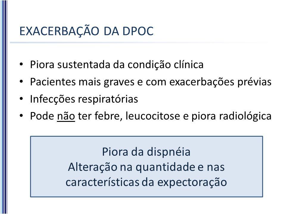EXACERBAÇÃO DA DPOC Piora sustentada da condição clínica Pacientes mais graves e com exacerbações prévias Infecções respiratórias Pode não ter febre,