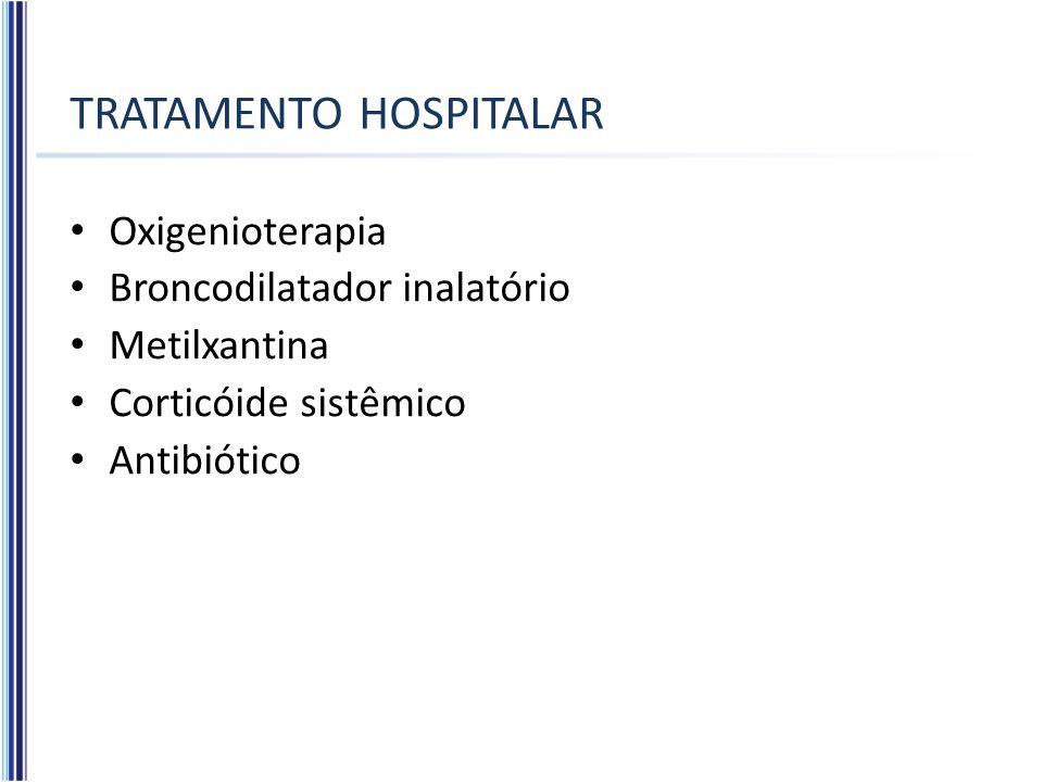 TRATAMENTO HOSPITALAR Oxigenioterapia Broncodilatador inalatório Metilxantina Corticóide sistêmico Antibiótico