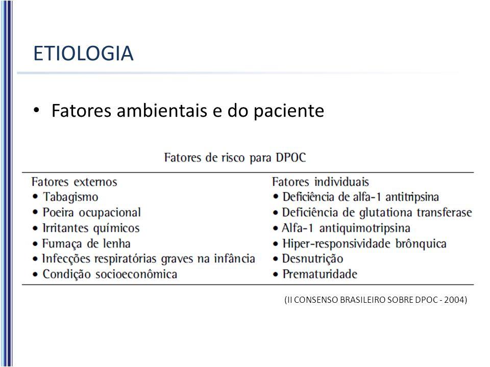 ETIOLOGIA Fatores ambientais e do paciente (II CONSENSO BRASILEIRO SOBRE DPOC - 2004)