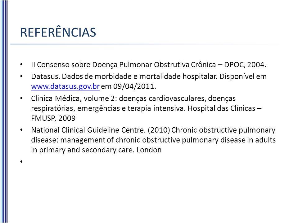 REFERÊNCIAS II Consenso sobre Doença Pulmonar Obstrutiva Crônica – DPOC, 2004. Datasus. Dados de morbidade e mortalidade hospitalar. Disponível em www