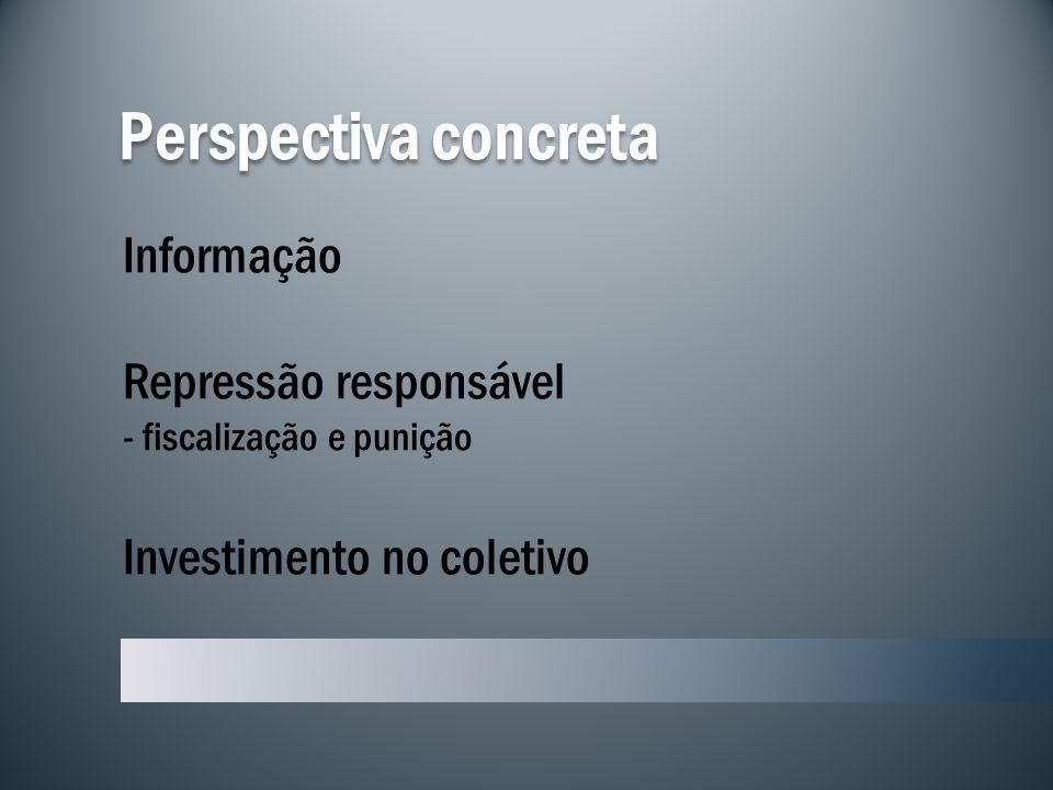 Perspectiva concreta Informação Repressão responsável - fiscalização e punição Investimento no coletivo