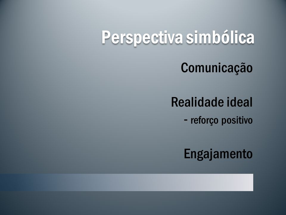 Perspectiva simbólica Comunicação Realidade ideal - reforço positivo Engajamento