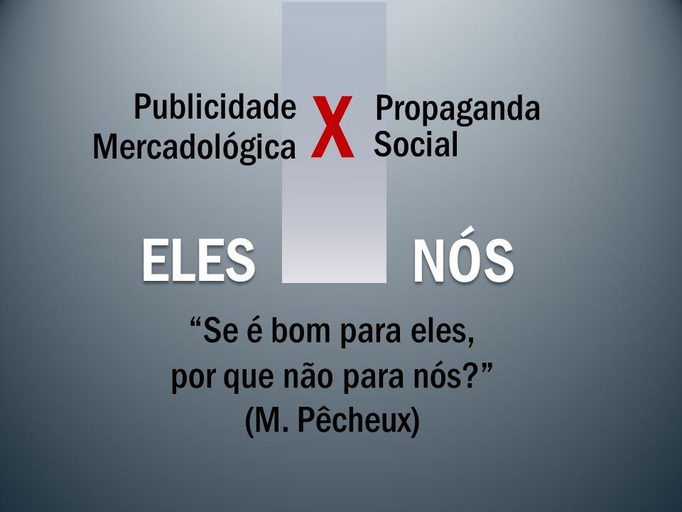 Publicidade Propaganda Social Mercadológica X NÓS ELES Se é bom para eles, por que não para nós? (M. Pêcheux)