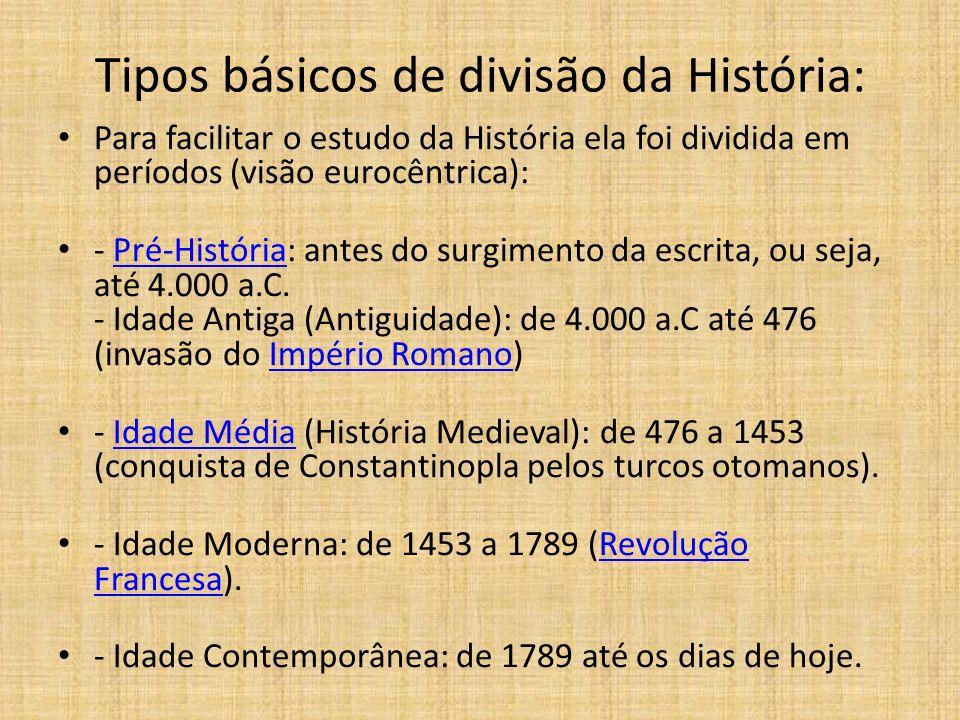 Tipos básicos de divisão da História: Para facilitar o estudo da História ela foi dividida em períodos (visão eurocêntrica): - Pré-História: antes do