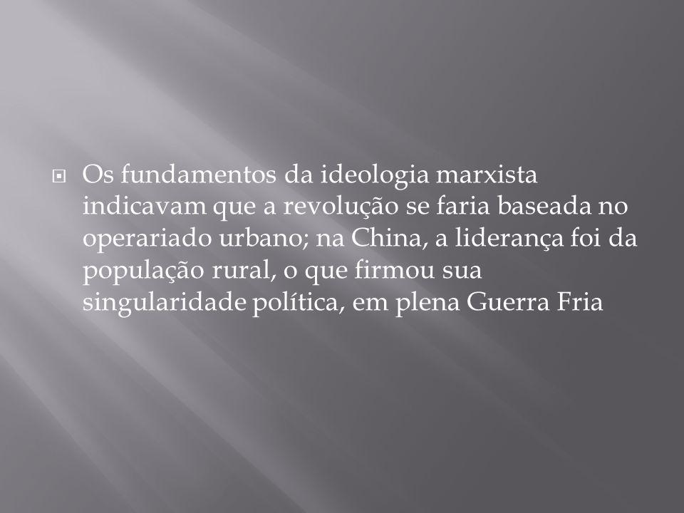Os fundamentos da ideologia marxista indicavam que a revolução se faria baseada no operariado urbano; na China, a liderança foi da população rural, o