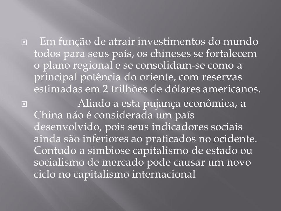 Em função de atrair investimentos do mundo todos para seus país, os chineses se fortalecem o plano regional e se consolidam-se como a principal potênc