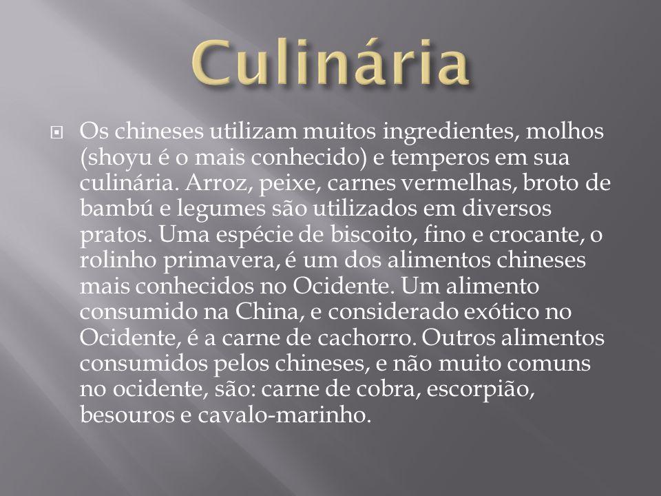 Os chineses utilizam muitos ingredientes, molhos (shoyu é o mais conhecido) e temperos em sua culinária. Arroz, peixe, carnes vermelhas, broto de bamb