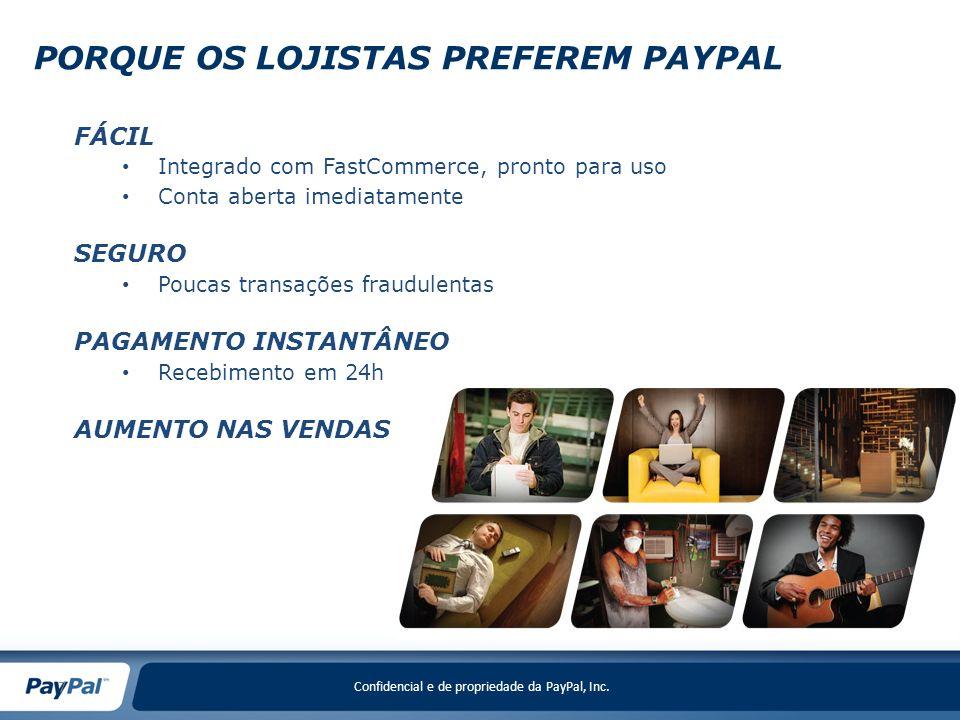Confidencial e de propriedade da PayPal, Inc. 7 FÁCIL Integrado com FastCommerce, pronto para uso Conta aberta imediatamente SEGURO Poucas transações