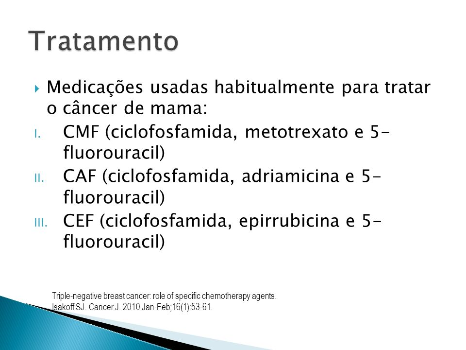 Medicações usadas habitualmente para tratar o câncer de mama: I. CMF (ciclofosfamida, metotrexato e 5- fluorouracil) II. CAF (ciclofosfamida, adriamic
