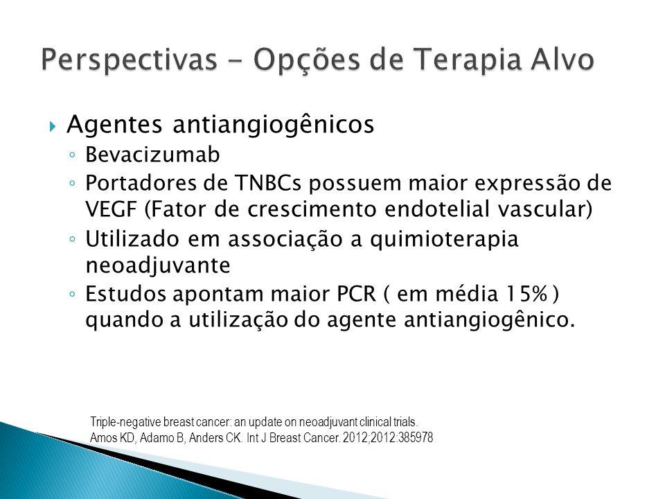 Agentes antiangiogênicos Bevacizumab Portadores de TNBCs possuem maior expressão de VEGF (Fator de crescimento endotelial vascular) Utilizado em assoc
