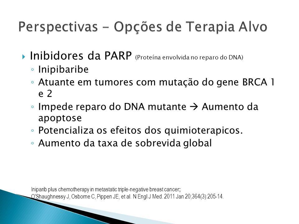 Inibidores da PARP (Proteína envolvida no reparo do DNA) Inipibaribe Atuante em tumores com mutação do gene BRCA 1 e 2 Impede reparo do DNA mutante Au