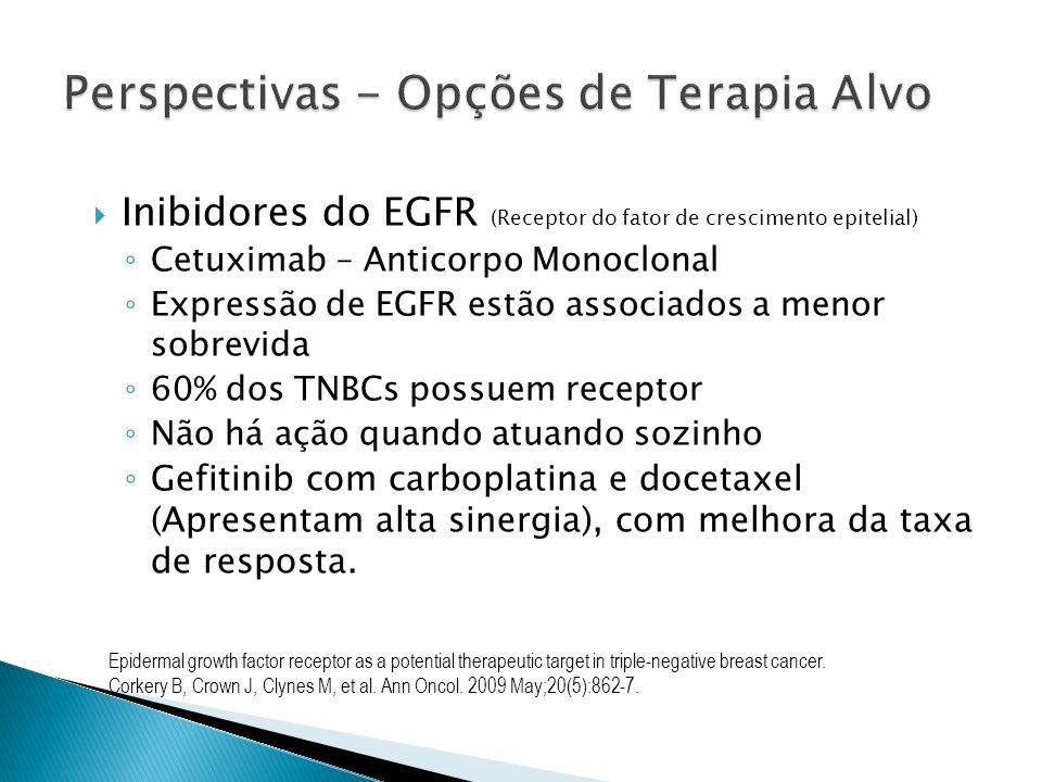 Inibidores do EGFR (Receptor do fator de crescimento epitelial) Cetuximab – Anticorpo Monoclonal Expressão de EGFR estão associados a menor sobrevida