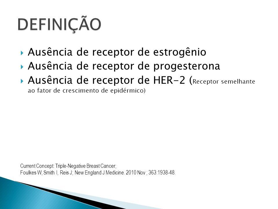 Ausência de receptor de estrogênio Ausência de receptor de progesterona Ausência de receptor de HER-2 ( Receptor semelhante ao fator de crescimento de