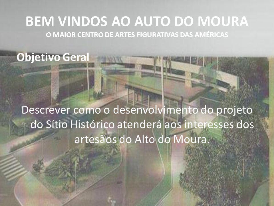 BEM VINDOS AO AUTO DO MOURA O MAIOR CENTRO DE ARTES FIGURATIVAS DAS AMÉRICAS Objetivo Geral Descrever como o desenvolvimento do projeto do Sítio Histó