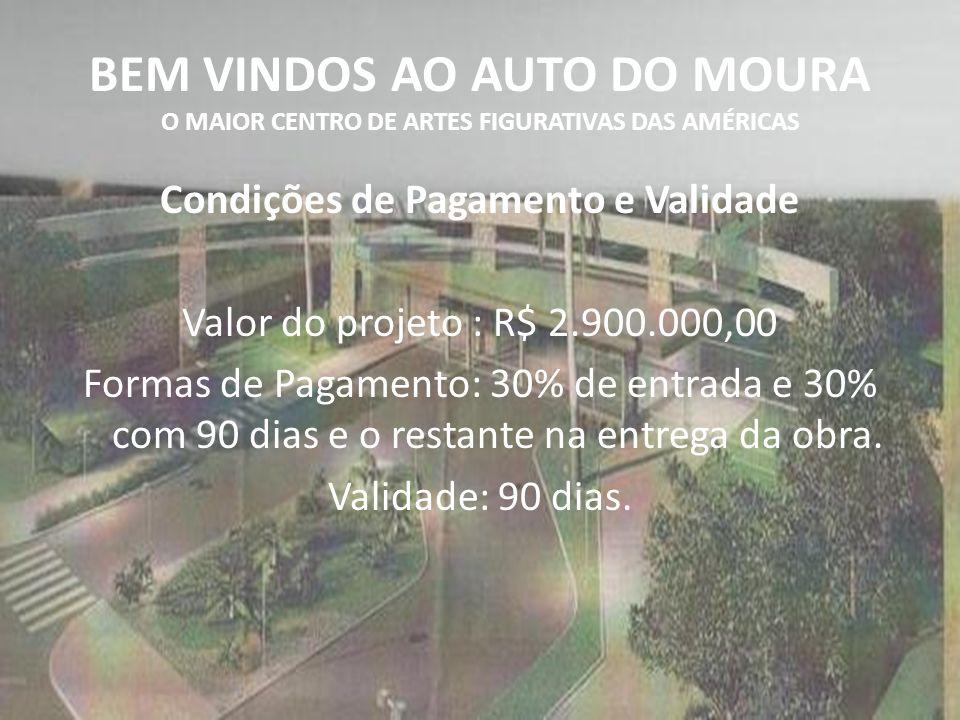 BEM VINDOS AO AUTO DO MOURA O MAIOR CENTRO DE ARTES FIGURATIVAS DAS AMÉRICAS Condições de Pagamento e Validade Valor do projeto : R$ 2.900.000,00 Form