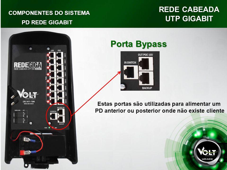 REDE CABEADA UTP GIGABIT COMPONENTES DO SISTEMA PD REDE GIGABIT Porta Bypass Estas portas são utilizadas para alimentar um PD anterior ou posterior onde não existe cliente