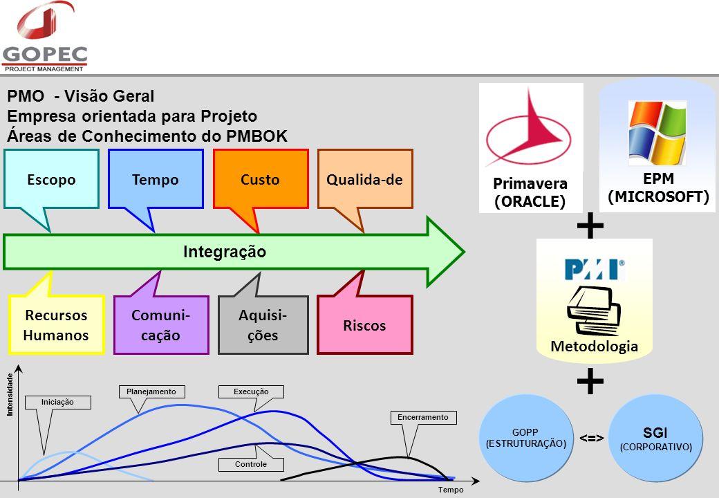 EscopoTempoCustoQualida-de Recursos Humanos Comuni- cação Aquisi- ções Riscos Integração Primavera (ORACLE) EPM (MICROSOFT) Metodologia SGI (CORPORATIVO) GOPP (ESTRUTURAÇÃO) PMO - Visão Geral Empresa orientada para Projeto Áreas de Conhecimento do PMBOK Iniciação PlanejamentoExecução Controle Encerramento Intensidade Tempo